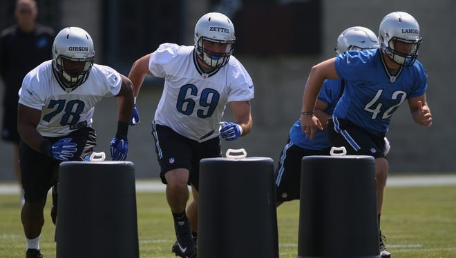 Detroit Lions rookies, including Anthony Zettel (69) go through drills during rookie minicamp on Friday, May 6, 2016 at the practice facility in Allen Park.