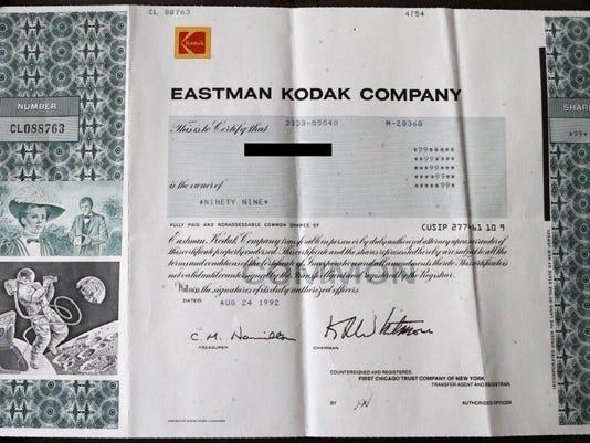 Kodak stock certificate