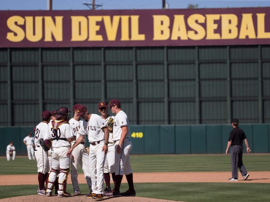 ASU baseball head coach Tracy Smith pays a visit to