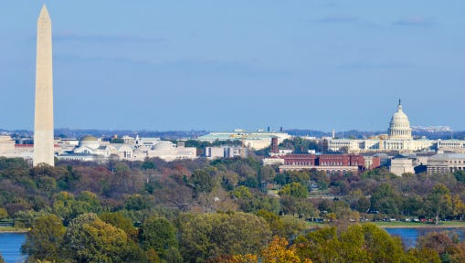 Washington DC skyline in autumn