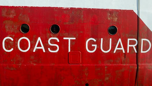 Detail of the hull of a Coast Guard Ship