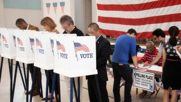 People voting in polling place