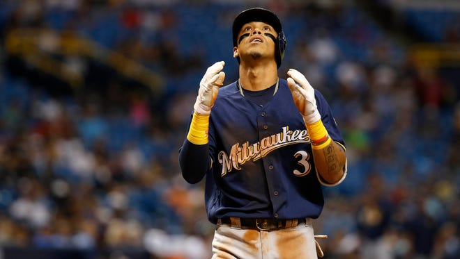 Brewers shortstop Orlando Arcia his home run in the eighth inning Friday night, his 10th homer of the season.