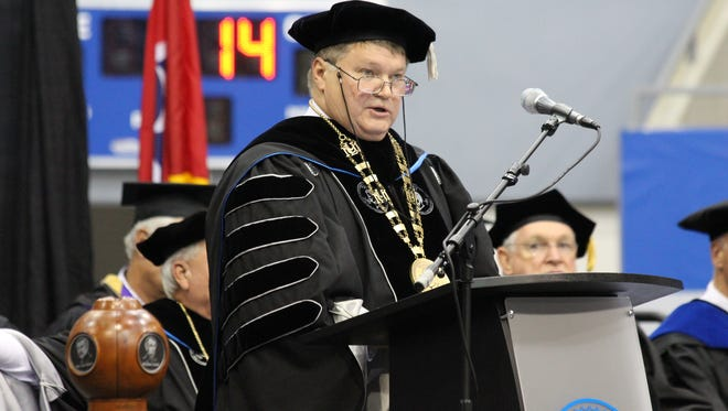 Clayton Hess speaks at his inauguration as president of Lincoln Memorial University on Friday, Oct. 13, 2017.