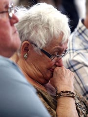 Marilyn Gilhuley, mother of victim Patrick Gilhuley listens as Virginia Vertetis is sentenced to 30 years in Morris County Superior Court. Vertetis was found guilty of murder in April after prosecutors argued that she purposely shot her ex-boyfriend, Patrick Gilhuley at her Mount Olive home in 2014 out of desperation that he was breaking up with her. May 23, 2017, Morristown, NJ.