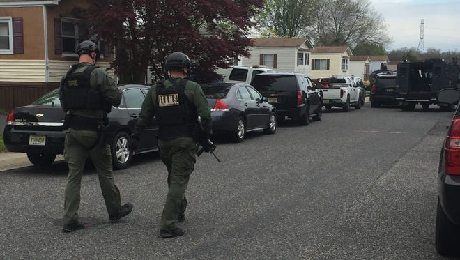 Members of the N.J. State Police TEAMS unit responded to Lake Acres Mobile Home Park  in Newfield Monday afternoon and were able to safely remove a distraught armed man from a mobile home.