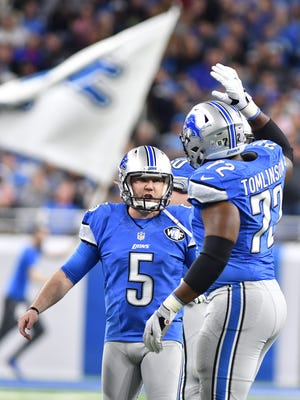Lions kicker Matt Prater celebrates his field goal to put Detroit up by seven over the Jaguars late in the fourth quarter.