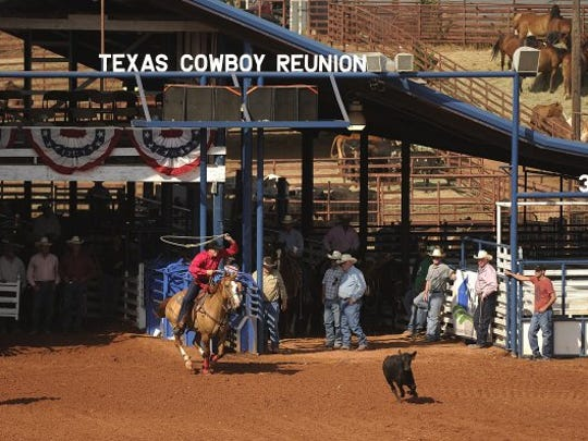 Thomas Metthe/Reporter-News Rod Tate chases down a calf during the breakaway roping at the Texas Cowboy Reunion on Saturday, July 2, 2016, in Stamford.