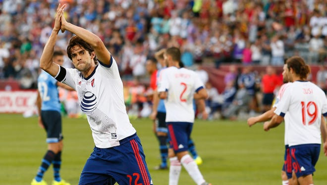 MLS All Stars midfielder Kaka (22) of Orlando City SC celebrates during the first half of the 2015 MLS All Star Game against the Tottenham Hotspur at Dick's Sporting Goods Park.