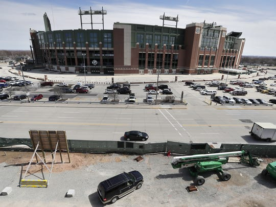 A view of Lambeau Field is shown from the 5th floor patio at the under-construction Lodge Kohler hotel in the Titletown District on Thursday, April 6, 2017, in Ashwaubenon, Wis.  Adam Wesley/USA TODAY NETWORK-Wisconsin