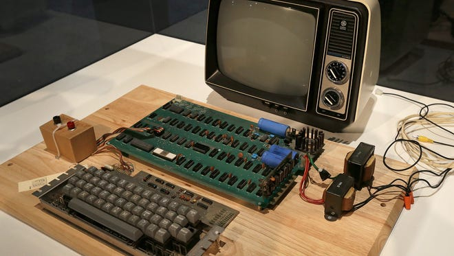 An Apple 1 computer for sale at auction is seen in June 2013.
