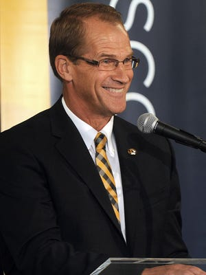 Newly appointed University of Missouri athletic director Jim Sterk talks about the position during a Thursday press conference