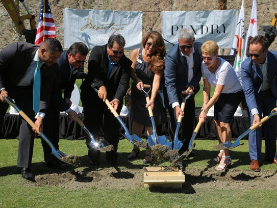 The La Quinta City Council breaks ground at a ceremony