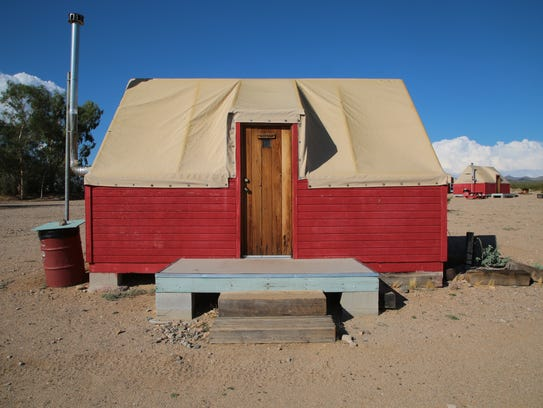 The Nipton Hotel rents out cabins to guests in Nipton,