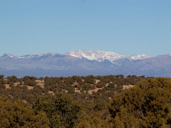 Snow is sparse on the La Plata Mountains, photographed on Wednesday from Farmington.