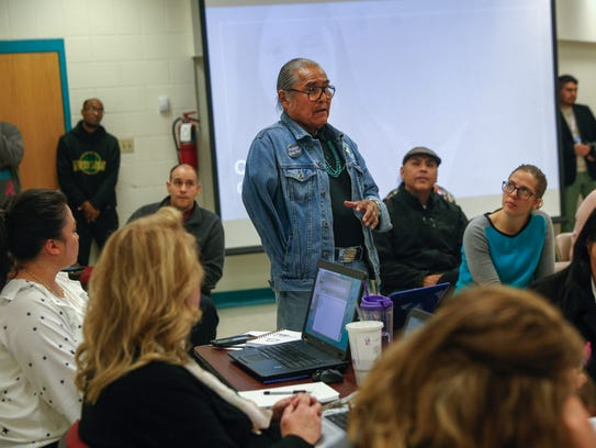 """Shiprock Chapter President Duane """"Chili"""" Yazzie speaks during a Central Consolidated School District board meeting Tuesday night in Shiprock."""