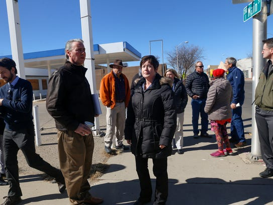 Complete Streets project coodinator Sherry Roach leads a walking tour of downtown Farmington on Monday.