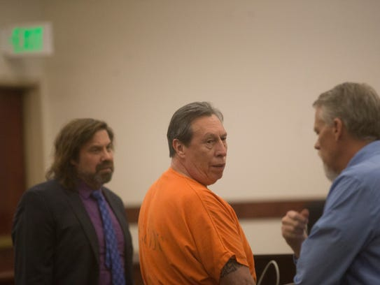 Defendant Gary Montoya looks back as he gives a statement during his sentencing hearing on Thursday at the Aztec District Courthouse.