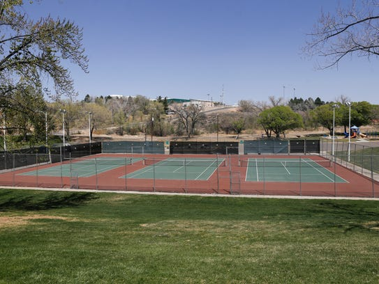 Some tennis courts like these at Brookside Park in Farmington could be converted into pickleball courts if a plan by Mayor Nate Tuckett reaches fruition.