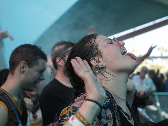 April 20, 2018; Indio, CA, USA; Festival goers are