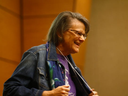 Dianne Bonebreak gives the invocation on Friday, April