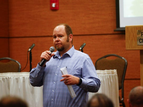 Farmington Mayor Nate Duckett speaks during an Outdoor Recreation Industry Initiative meeting Thursday at the Farmington Civic Center.