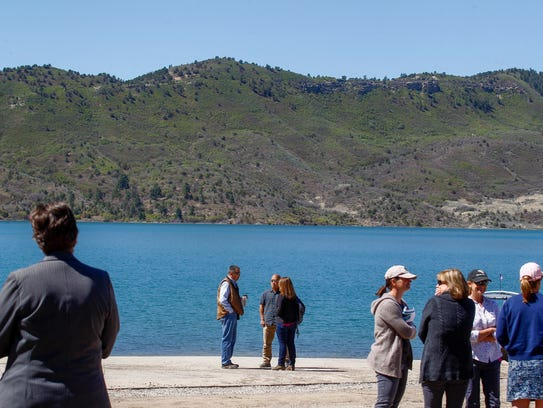 People involved in the Animas-La Plata Project attend a dedication ceremony Monday at Lake Nighthorse in Durango, Colorado.