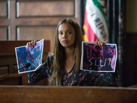 Liberty High School student Jessica (Alisha Boe) testifies about sexual assault and harassment, after she and Hannah were raped by a varsity football player last season.
