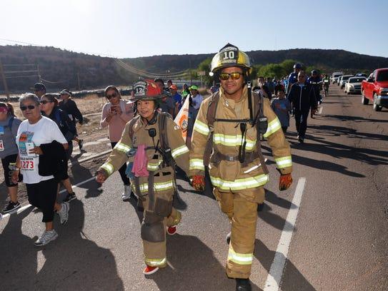 Navajo Nation firefighters Jennifer Collins and Jeremy