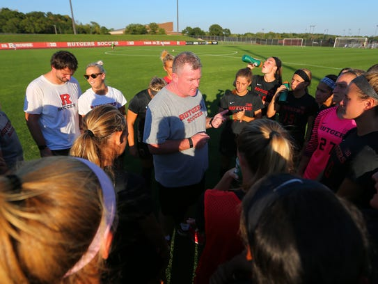 Rutgers women's soccer coach Mike O'Neill addresses