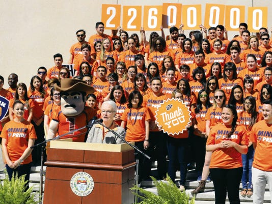 UTEP President Diana Natalicio addresses the crowd moments before announcing the results of the Centennial Campaign which topped 226,000,000.