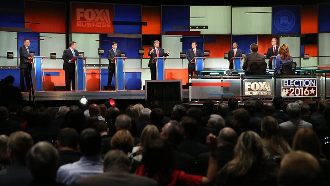 Republican presidential candidates participate in the Fox Business Network debate on Jan. 14, 2016, in North Charleston, S.C.