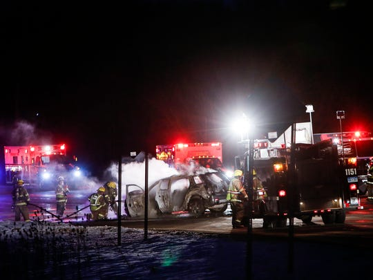 No serious injuries in fiery crash near Potterville