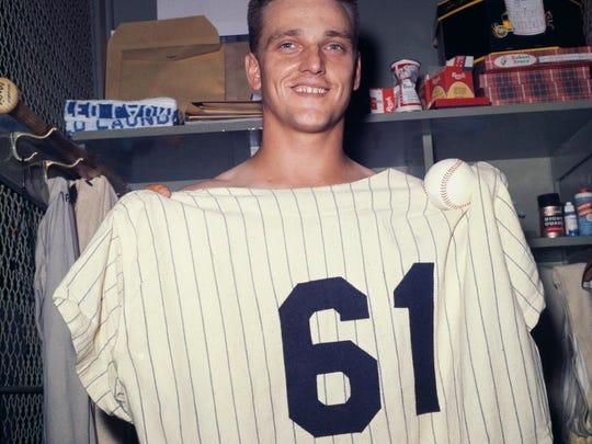 Yankees slugger Roger Maris poses at Yankee Stadium