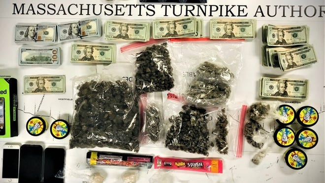 State police released this photo of the items found during a Monday traffic stop in Auburn.