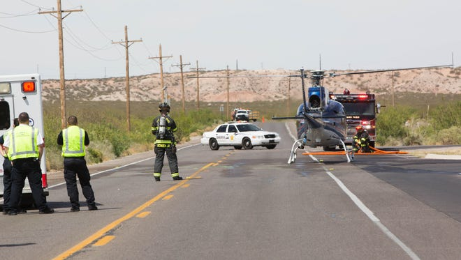 "An air ambulance helicopter, takes off with Santa Teresa High School student Jared Huckabee aboard where he ""died"" on his way to the hospital after a mock drunk driving and distracted driving accident, set up by the Shattered Lives program, Thursday, April 27, 2017, next to Santa Teresa High School."