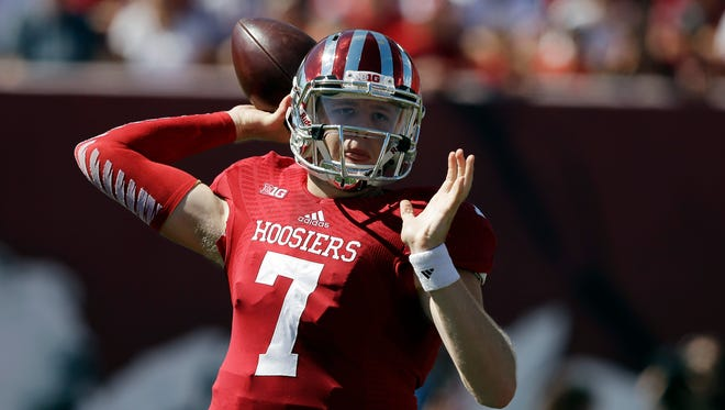 Indiana quarterback Nate Sudfeld throws during the first half of an NCAA college football game against Maryland Saturday, Sept. 27, 2014, in Bloomington, Ind.