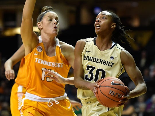 Tennessee Lady Volunteers forward Kortney Dunbar (13)
