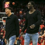 Louisville's Damion Lee and Mangok Mathiang smiled before the Boston College game Saturday afternoon at the KFC Yum! Center.  Feb. 6, 2016