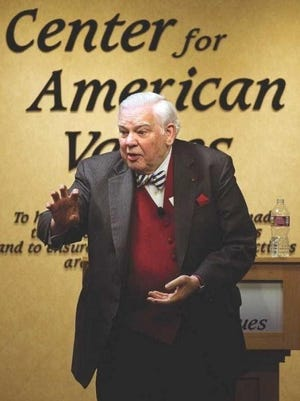 Former presidential speech writer James Humes gestures as he speaks to an audience at the Center for American Values on Nov. 11, 2011. Humes, who called Pueblo home died Friday.