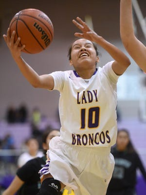 Kirtland Central's Haile Gleason runs with the ball during a game against Farmington on Jan. 12 at Bronco Arena in Kirtland.