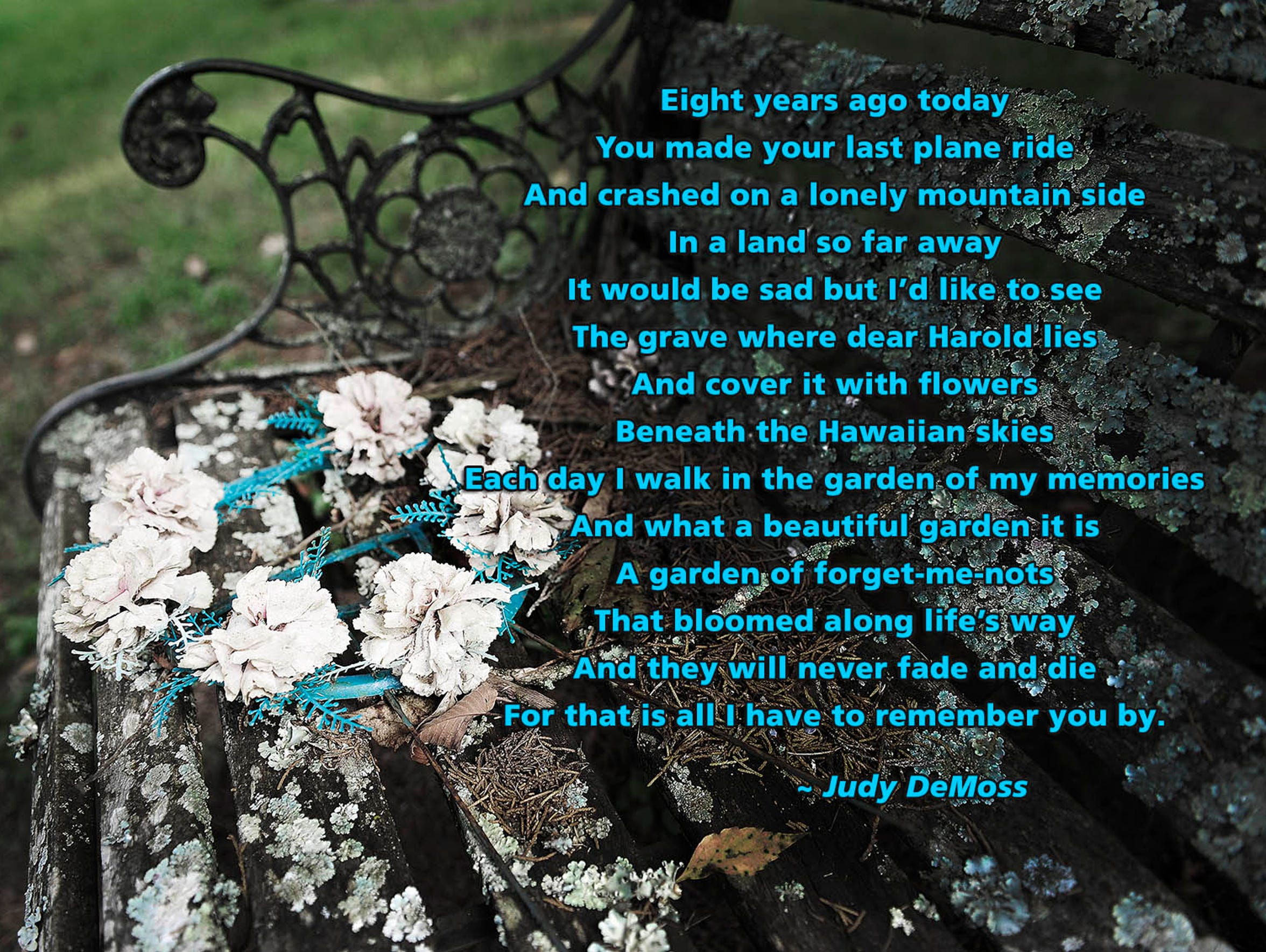 Click to enlarge the poem: Eight years after DeMoss'