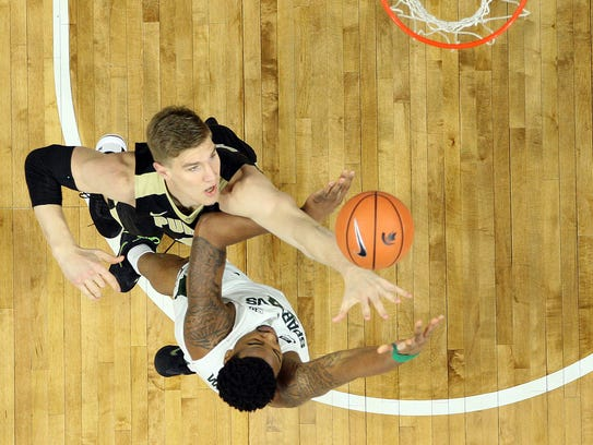Purdue Boilermakers center Isaac Haas (44) blocks the