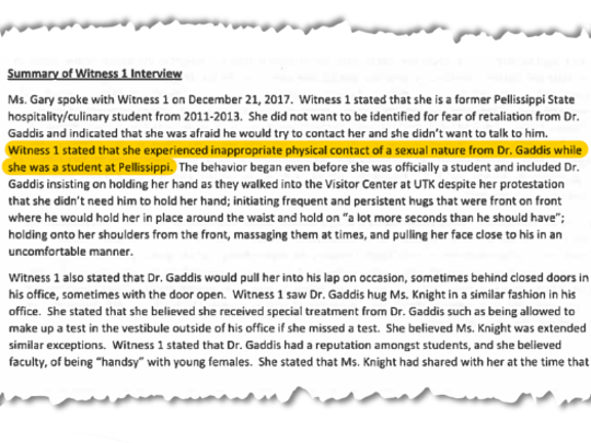 Pictured is a section of Anna White's interview with Pellissippi's director of human resources, Carole Gary, about Tom Gaddis. Witness 1 is Anna White.