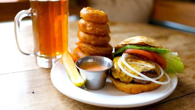 Burger and onion rings at Burger Up.