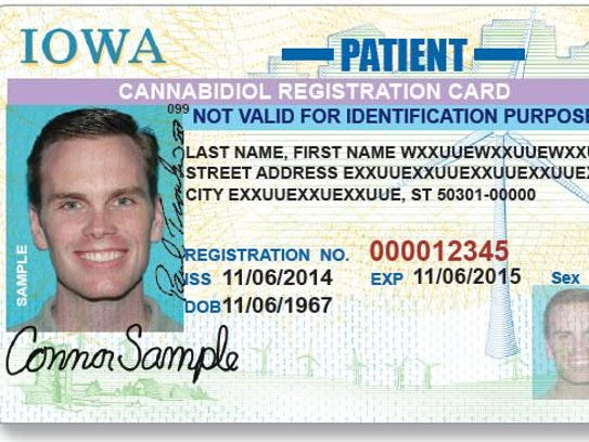 This is a mock-up of new marijuana-oil cards that Iowa