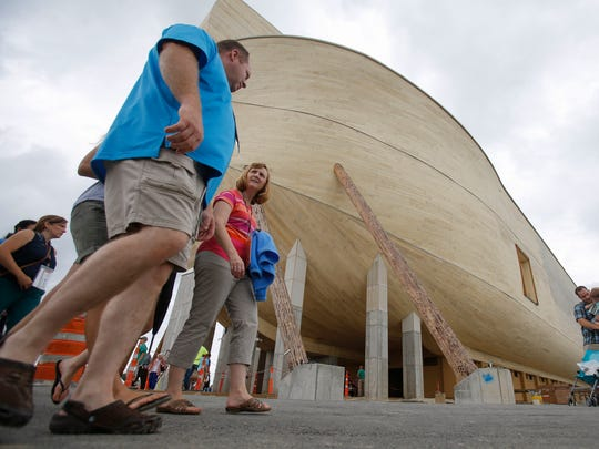 Visitors walk around the replica ark on July 5 at the