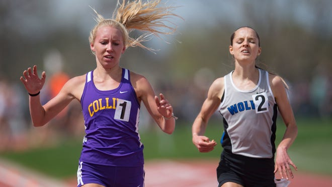 Fort Collins High School's Lauren Gregory crosses the finish line in front of Brie Oakley, right, of Grandview in the 5A girls 1600-meter run during the CHSAA State Track and Field Championships at JeffCo Stadium in Lakewood on Sunday, May 21, 2017.