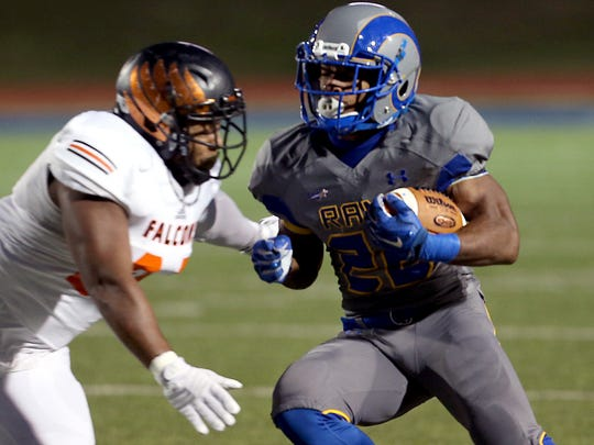 Angelo State's Josh Stevens makes his way down field during the Rams' game against the University of Texas of the Permian Basin Falcons on Saturday night.