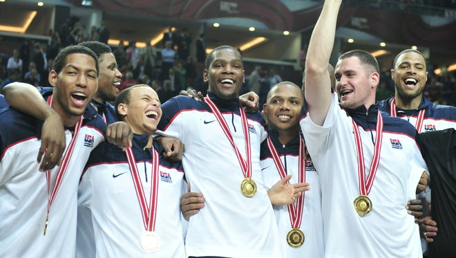 Team USA, led by Kevin Durant, center, won gold at the 2010 World Championships, beating host Turkey in the final.
